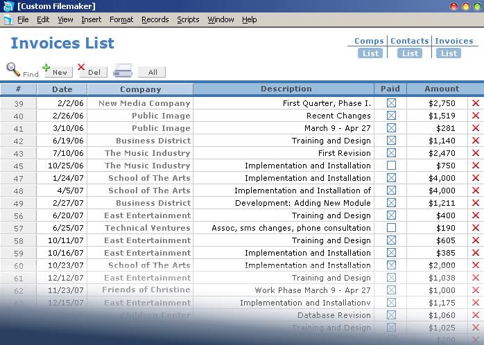 Custom Filemaker Invoice Database, New York City Database Development
